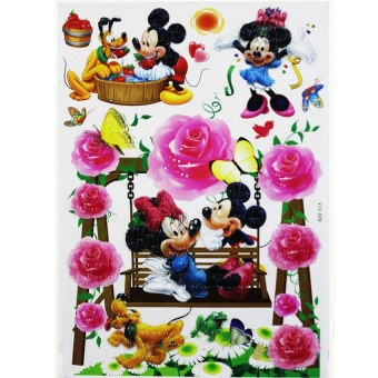 Harga Wallmark Mickey and Minnie mouse 3D Wall Sticker (Multicolor)