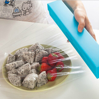 Harga Plastic Kitchen Cling Film Wrap Dispenser Cutter Storage(Blue)