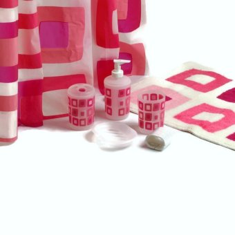 Aspire Nostalgia in Pink Bath 7-piece Set (Lotion Dispenser, Toothbrush Holder, Tumbler, Soap Tray, Bath Mat, Shower Curtain with Shower Hook) Price Philippines