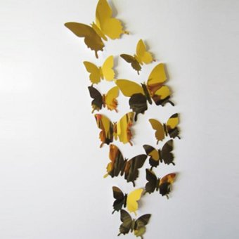 Coconiey Wall Stickers Decal Butterflies 3D Mirror Wall Art Home Decors Gold Price Philippines
