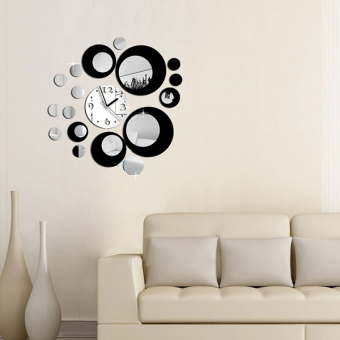 Aukey Modern Circles Mirror Effect DIY Wall Clock Movement Home Decoration Decor Gift Price Philippines