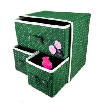 Harga GMY Foldable Woven Clothing Storage Box (Green)