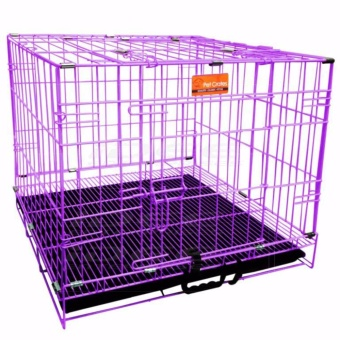 Harga Pet Crates EL-1.5 Foldable Dog Cage w/ Plastic tray (Purple)