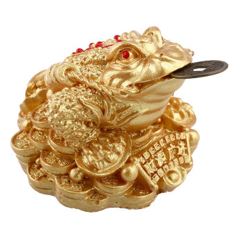 Harga Gold Feng Shui Money Fortune Wealth Oriental Chinese I Ching Frog Toad Decor