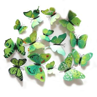 12PCS 3D PVC Magnet Butterflies DIY Wall Sticker Home Decor Green Price Philippines