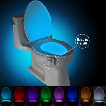 Harga Motion Activated Toilet Night Light Bowl Bathroom LED 8 Color Lamp Sensor Lights (Color: Multicolor) - intl