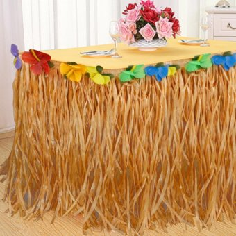 Good Service 9ft Tropical Hawaiian Luau Table Grass Skirt with Flower BBQ Party Decorations - intl Price Philippines