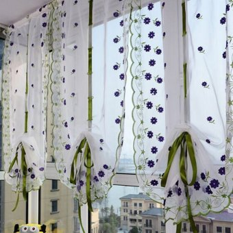 Flower Color Tulle Door Window Curtain (Purple Flowers) Price Philippines
