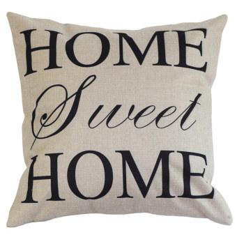 Harga Home Decor Cotton Linen Letter Sunshine Throw Sofa Pillow Case Car Cushion Cover (White)