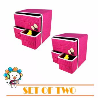 J&J New Folding 3 Drawer Fabric Storage Box Organizer Set of 2