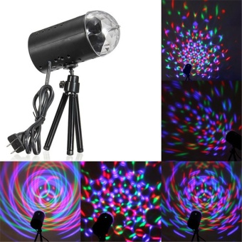Jeebel New RGB 3W Crystal Magic Ball Laser Stage Lighting For Party Holiday wedding Disco DJ Bar Bulb Lighting Show give tripod - intl