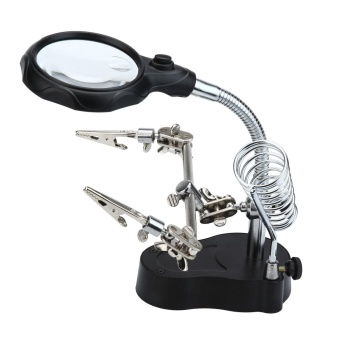 jingot 3.5x 12X LED Magnifying Glass Helping Hand Magnifier Tool With Soldering Iron Stand Adjustable Alligator Clip ClampsWorkstation Light Battry Powered - intl