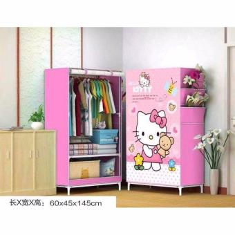K&E 3D Pattern Non-Woven Folding Cloth Wardrobe Home ClosetHello Kitty Pink