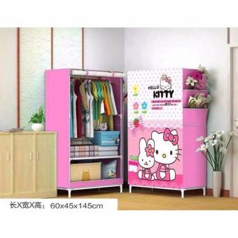 K&E 3D Pattern Non-Woven Folding Cloth Wardrobe Home ClosetHello Kitty Pink1