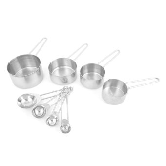 Kitchen Baking Cooking Stainless Steel Measuring Spoon Cup 8 in 1 Set - Intl
