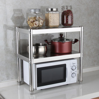 Kitchen Cabinet kitchen stove microwave oven stainless steel cabinet shelf double layer shelf