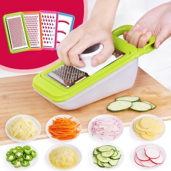 Kitchen Cooking Gadgets Set, Vegetable Slicer,Adjustable Mandoline Food Slicer, 5 Interchangeable Stainless Steel Blades, Safety Holder - intl