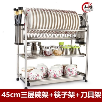 Kitchen utensils two three layer glove drain dish rack cupboard