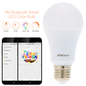 KKmoon E26/E27 7W Bluetooth Smart LED Color Bulb Intelligent Light Lamp Android/IOS Phone APP Control - intl