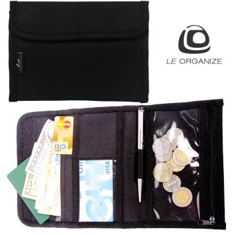 Le Organize Deltrax Canvas Small Passport Organizer - Black