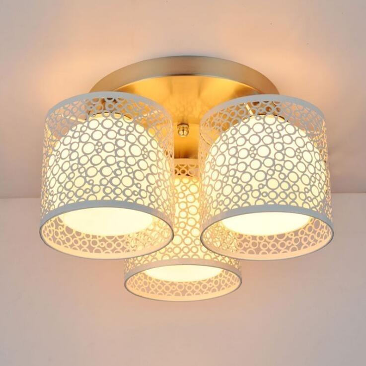 Led Modern Crystal Wrought Iron Ceiling Light Living Room Creative Wedding Bedroom Fixture