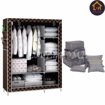 LOVE&HOME 105NT Zipper Fashion Storage Wardrobe (Brown Stripe) With 6 in 1 Secret Pouch Travel Organizer Set (Gray)