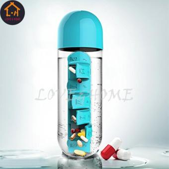 LOVE&HOME 1Pc Combine Daily Pill Box Weekly Water SevenOrganizer Bottle Portable New (Blue)