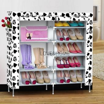 LOVE&HOME High Quality Double Capacity 6 Layer Shoe Rack Shoe Cabinet (White Dog)