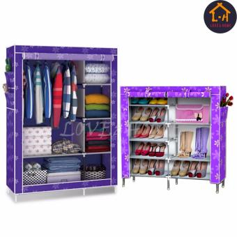 LOVE&HOME Storage Wardrobe and Clothes Organizer (Purple Flower) With High Quality Double Capacity 6 Layer Shoe Rack Shoe Cabinet (Purple Flower)