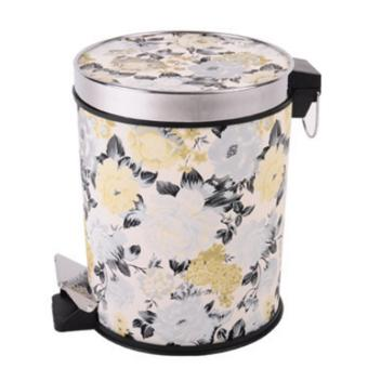 LT365 12L Leather Covered Round Step Trash Can Foot Pedal DustbinGarbage Bin with Lid - Pattern-1 - intl
