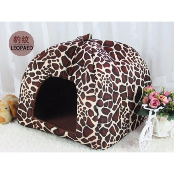 LuckyG Lovely Leopard Print Pet Nest Cat Dog House Bed KennelCushion S - intl