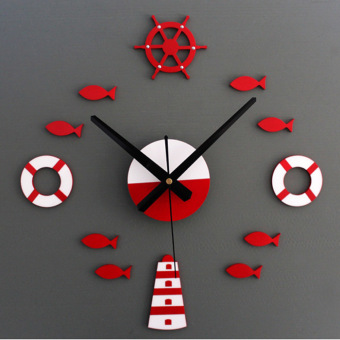 Mediterranean DIY 3D Wall Clock Home Wall Stickers Decoration Art Clock (Red)