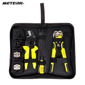 Meterk 4 In 1 Wire Crimpers Engineering Ratcheting Terminal Crimping Pliers Bootlace Ferrule Crimper Tool Cord With Wire Stripper - intl
