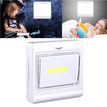 Mini White Light COB LED Switch Wall Light Night Light Lamp(Silver) - intl Price Philippines