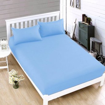 MODERN SPACE High Quality Bedsheet Double Size With FREE Two Pillow Cases (Light Blue)