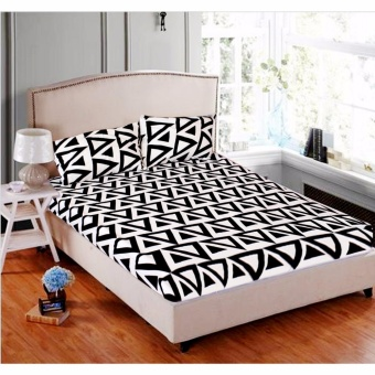 MODERN SPACE High Quality Fitted Bedsheet Double Size With FREE Two Pillow Cases Aztec Triangle Printed Design