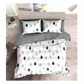 MODERN SPACE High Quality Fitted Bedsheet Double Size With FREE Two Pillow Cases Leaves White Printed Design