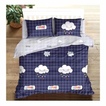 MODERN SPACE High Quality Fitted Bedsheet Double Size With FREE Two Pillow Cases Love Clouds Navy Blue Printed Design