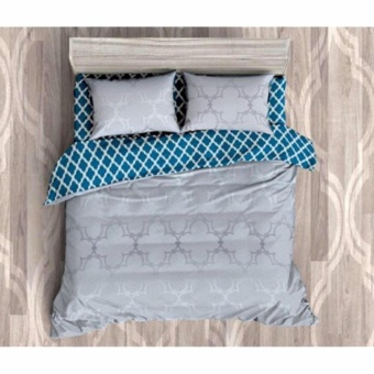 MODERN SPACE High Quality Fitted Bedsheet Double Size With FREE Two Pillow Cases Vintage Big Trellis Pattern Grey Printed Design