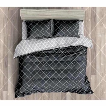 MODERN SPACE High Quality Fitted Bedsheet Queen Size With FREE Two Pillow Cases Double Diamond Printed Design