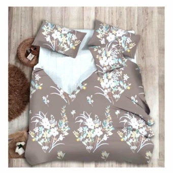 MODERN SPACE High Quality Fitted Bedsheet Queen Size With FREE Two Pillow Cases Floral Brown Printed Design