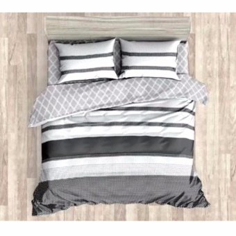 MODERN SPACE High Quality Fitted Bedsheet Queen Size With FREE Two Pillow Cases Parallel Printed Design