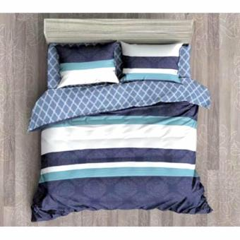 MODERN SPACE High Quality Fitted Bedsheet Queen Size With FREE Two Pillow Cases Stripe Printed Design