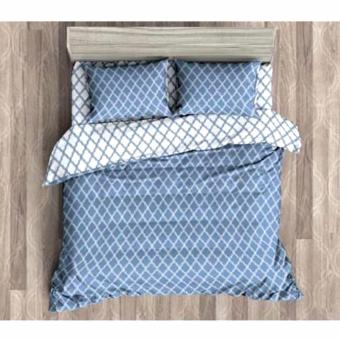 MODERN SPACE High Quality Fitted Bedsheet Queen Size With FREE Two Pillow Cases Trellis Pattern Blue Printed Design