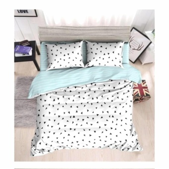 MODERN SPACE High Quality Fitted Bedsheet Queen Size With FREE Two Pillow Cases Triangle Confetti White Printed Design
