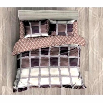 MODERN SPACE High Quality Fitted Bedsheet Single Size With FREE Two Pillow Cases Square Pattern Printed Design