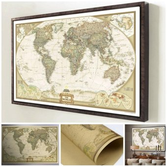Moonar Vintage antique poster World map wall sticker paper for home decor - intl