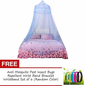 Mosquito Net Bed Canopy King/Queen Size with FREE Anti MosquitoPest Insect Bugs Repellent Wrist Band Bracelet Wristband Set of 6(Random Color)