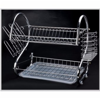 Multi-functional Double Layer Kitchen Metal Dish Drying Rack ShelfHolder Organizer (Silver)