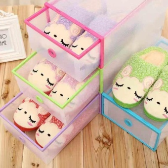 Multi-use Foldable Plastic Transparent Drawer Case Shoe StorageOrganizer Stackable Box Set Of 5